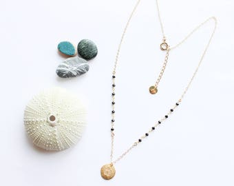 Sea URCHIN - off set necklace / was 2017 (gold, summer, beach, shell, black onyx gemstone, sea, minimalist)
