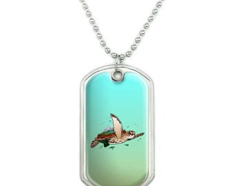 Sea Turtle Flying Military Dog Tag Pendant Necklace with Chain