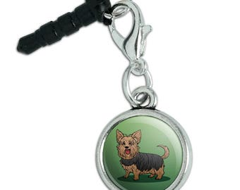 Yorkshire Terrier Yorkie with Tongue Out Mobile Cell Phone Headphone Jack Anti-Dust Charm fits iPhone iPod Galaxy
