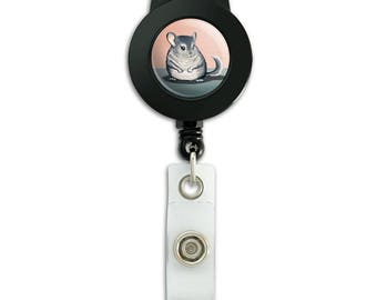 Cute chinchilla lanyard retractable reel badge id card holder