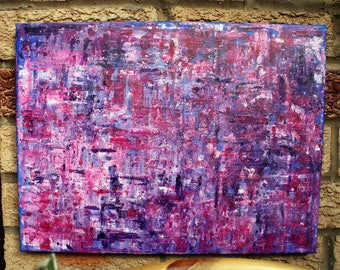 Abstract Pink Purple Painting, 30 x 40cm Canvas, Palette Knife Textured Art