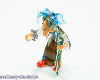 Glass Figurine Witch Blown Glass Witch Murano Glass Witch Collectible Home decor Art Glass Miniature Glass Sculpture Witch unique gift