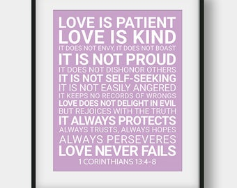 60% OFF Love Is Patient Love Is Kind It Does Not Envy, 1 Corinthians 13:4-8, Wedding Decor, Lilac Printable Wall Art, Bible Quote, Love Gift