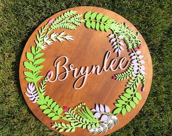 Custom Name Sign With Hand Painted Floral Wreath - Baby Girl Nursery Decor - Baby Shower Gift - 3D Custom Name Sign