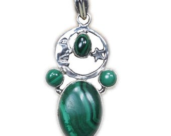 """Natural Malachite Pendant Boho Style 925 Sterling Silver Pendant Necklace Gift for Girlfriend wife Party 1 3/4"""" D1260"""