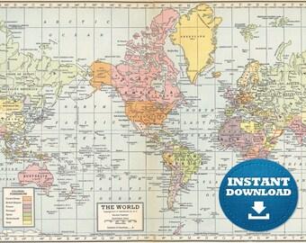 Digital old world map hight printable download vintage digital old world map hight printable download large world map digital printable map gumiabroncs Choice Image