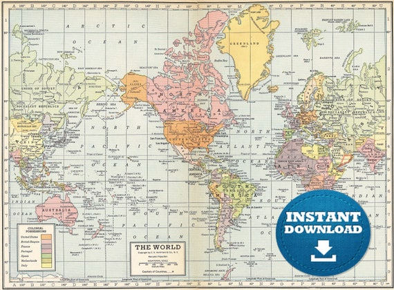 Digital Old World Map Hight Printable Download Large World - Large world map printable