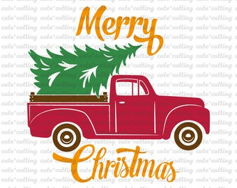 Red Pickup Christmas Tree Vinyl Cut File Red Truck And