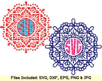 Mandala svg files for cricut silhouette, 2 & 3 COLOR, flower flourish LAYERED Mandala monogram svg clipart decal design pattern dxf cut file