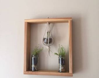 Handmade oak wood plant hanger wall decoration