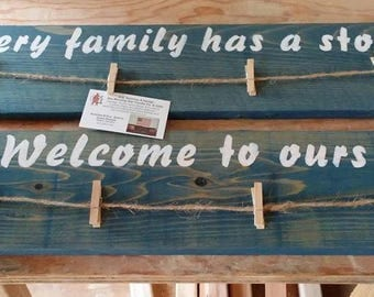 Family pictures wall plaque on cedar wood. Pallet type art