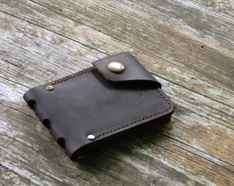 Mens wallet gift for her Mens gift  Gift for him Leather Wallet dark brown Money clip  gifts for her boyfriend gift
