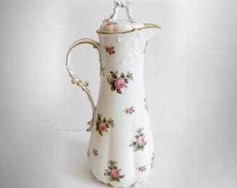 GDA Limoges France tall chocolate or teapot with roses design