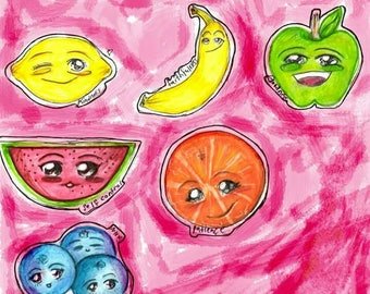 Cute Fruit Water proof Stickers