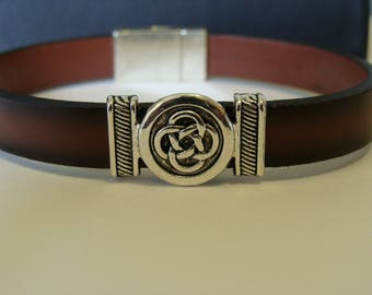 Two Tone Brown Leather Bracelet with Celtic Knot Slider