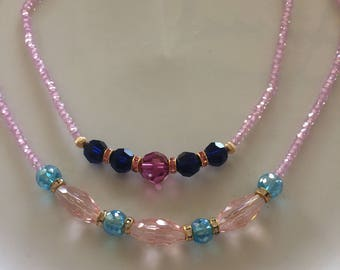 Pink or white zircon necklace