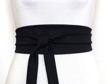 Haute Couture Cotton, Black Obi Belt, Black waist fabric, Wide wrap belt, black sash, japanese kimono cincher corset asian