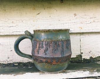 Green Carved Cascade Mug