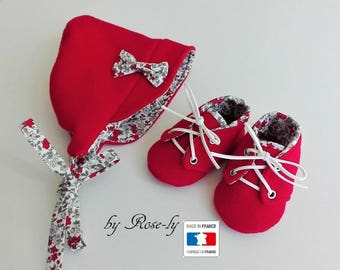 All baby booties and bonnet in red and liberty wool Red