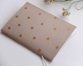 Polkadots glitter gold notebook