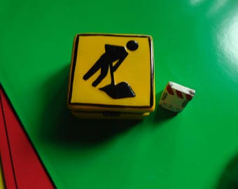 Men at work caution trinket box with barricade and cone trinkets