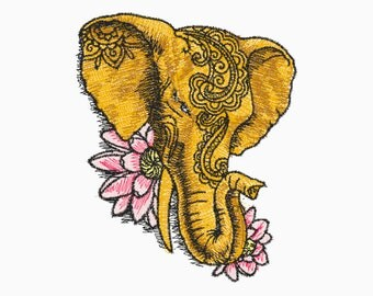 5x7 Embroidery File: Floral Elephant, Choose Your Size and Format