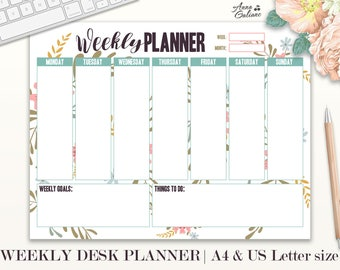 Weekly Planner Printable, Weekly Desk Planner, Weekly Planner Pad, Agenda, Student Planner, Daily Schedule, Floral Planner, Organizer, To do