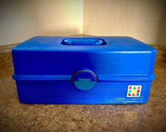 Vintage Caboodles Blue Jewelry Case Makeup Cosmetics Organizer Craft Storage Travel 2420