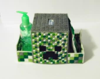 Creeper Minecraft Inspired -Multi Compartment Tissue Holder Caddy holds INCLUDED square box tissues, Hand Sanitizer & Throat Drops NICE Gift