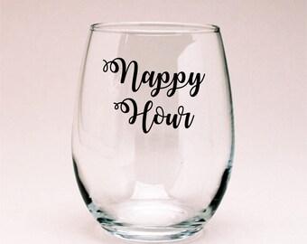 Nappy Hour Mommy Juice Wine Glass