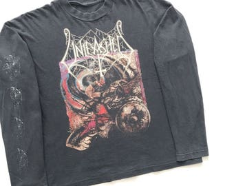 1993 Unleashed ' across the open sea' vintage band Tshirt long sleeve - L - Cannibal Corpse, Morbid Angel, Deicide, napalm Death, Carcass,