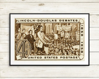 Lincoln-Douglas Debates, Abraham Lincoln, Stephen Douglas, The Great Debates, Civil War, US history, history classroom, history posters, art