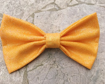Glittery yellow hair bow/ bow tie