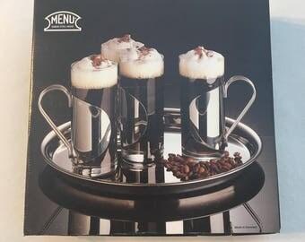Cappuccino Cups, Irish Coffee Cups, Danish Stainless Steel Glass Irish Coffee Mugs , Hot Toddy Mugs, Hot Chocolate Mugs, Scandinavian Design