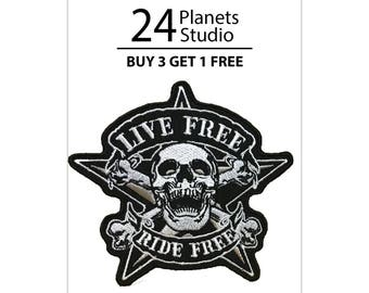 Free Live Free Ride Free Skull Crossbone Iron on Patch by 24PlanetsStudio
