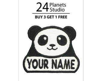 "Panda ""Your Name"" Iron on Patch by 24PlanetsStudio Your Text Custom Made DIY"