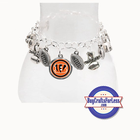 CINCINNATI Football CHARM Bracelet, Silver Plated  **FREE U.S. SHiPPiNG**