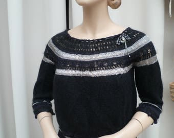 hand knit sweater black and silver
