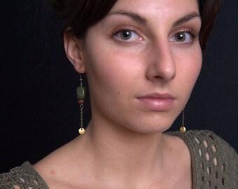 bronze earrings - earrings green earrings - earrings - dangle earrings - chain