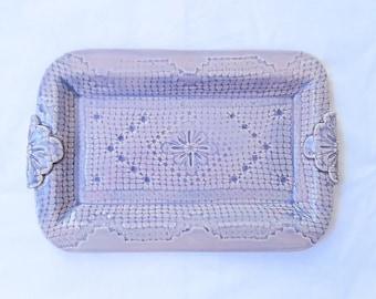 purple pottery platter - handmade lace-imprinted rectangular platter