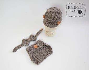 newborn newsboy outfit,  baby crochet outfit, newborn newsboy hat, newborn crochet bowtie, newsboy outfit, newborn crochet outfit, newsboy