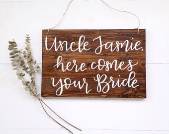 Here Comes The Bride Sign | Uncle here comes your bride sign, rustic wedding, ring bearer sign, wedding signs, rustic wood signs,