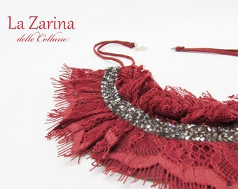 Lace necklace with red and silver rhinestones-Isabella