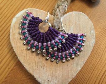 Beautiful fiesta fan micro macrame earrings - yoga jewellery - boho - micro macrame - glass beads