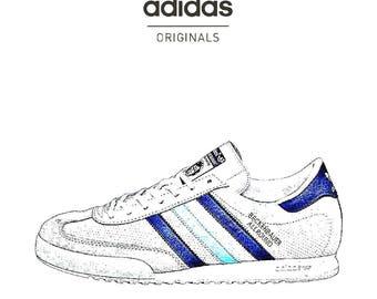 adidas trainers shoes vintage retro beckenbauer trefoil art print poster illustrated sketch drawing