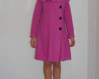 Vintage fifties style pink winter coat