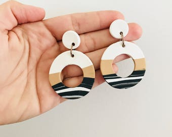 Statement Mini Hoop Drop Earrings
