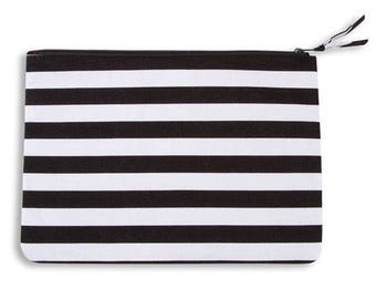 Large Quilt Black & White Stripes Cosmetic bag, tablet bag, quilt, quilt bag, bags, bag, travel accessories, travel, organizer, cosmetic bag