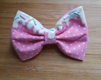 Decora Kei DDLG Pastel Drippy Bow with Sprinkles, Kawaii Drippy Hair Bow, Pink Polka Dot Bow Clip, Harajuku Hair Bow Accessories