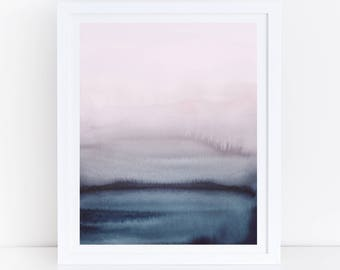 Watercolor Printable Art, Blue Pink Wall Art, Modern Living Room Art, Watercolor Print, Digital Download, Modern Watercolor, 18x24 Art